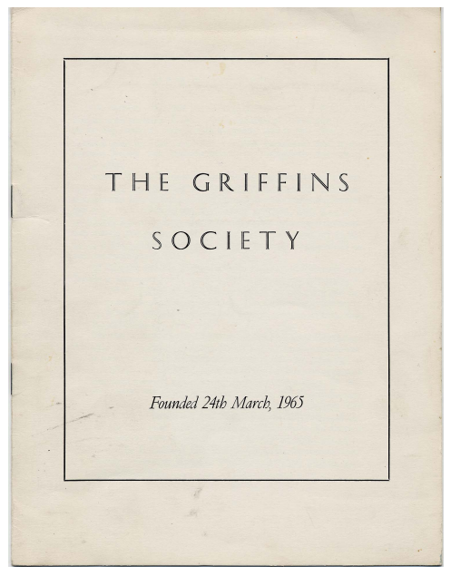 Front cover of Griffins Society Newsletter 1965