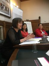 Image of MP Jo Stevens, Fellow Sarah Smart and guest Charlotte at House of Commons Seminar