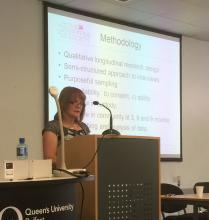Fellow Jean O'Neill presenting at Queen's University, Belfast
