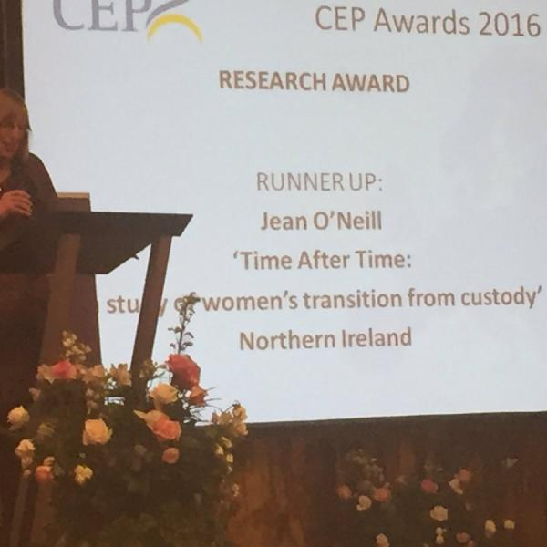 Photo of CEP awards - Jean O'Neill's research acknowledged as runner up for Research Award 2016