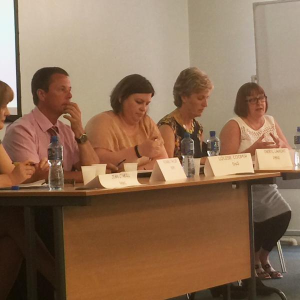 The panel: Fellow Jean O'Neill; Richard Taylor, Deputy Governor, Hydebank Wood Prison; Louise Cooper, Reducing Reoffending Directorate, DofJ (NI); Cheryl Lamont, Director, PBNI; Olwen Lyner, CEO, NIACRO